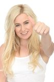 Attractive Happy Positive Young Woman Looking Pleased Giving a Thumbs Up Stock Images