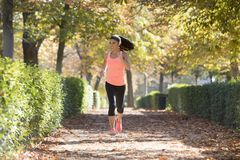Attractive and happy runner woman in Autumn sportswear running a. Young attractive and happy runner woman in Autumn sportswear running and training on jogging Royalty Free Stock Photo