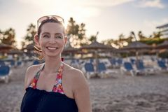 Free Attractive Happy Stylish Woman On The Beach Royalty Free Stock Images - 111479089