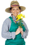 Attractive happy woman dressed gardener. A over white background Royalty Free Stock Images