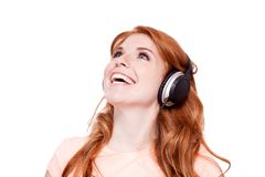 Attractive happy woman with headphones listen Royalty Free Stock Photo