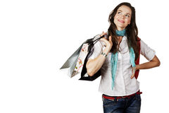 Attractive happy woman shopping Royalty Free Stock Image