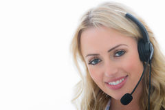 Attractive Happy Young Business Woman Using a Telephone Headset Stock Photos