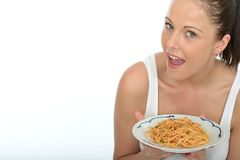 Attractive Healthy Happy Natural Young Woman Holding a Plate of Spaghetti Bolognese Royalty Free Stock Photo