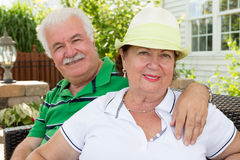 Attractive healthy happy senior couple Stock Photos