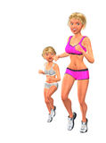 Attractive Healthy Mom Daughter Jogging Running Stock Photo
