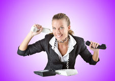 Attractive helpdesk operator on white Stock Image