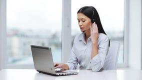 Attractive helpline operator in office stock video footage