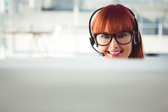 Attractive hipster woman with headset Royalty Free Stock Image