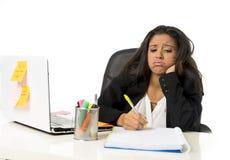 Attractive hispanic businesswoman or secretary suffering breakdown and headache in stress at office. Young attractive hispanic businesswoman or secretary Stock Photos