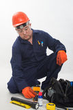 Attractive hispanic construction worker Stock Photography