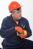 Attractive hispanic construction worker Royalty Free Stock Image