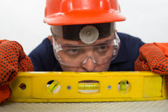 Attractive hispanic construction worker Stock Photo
