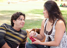 Attractive Hispanic Couple Having a Picnic in the Park. Attractive Hispanic Couple Having a Picnic Outdoors in the Park Stock Images