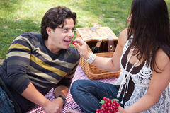 Attractive Hispanic Couple Having a Picnic in the Park. Attractive Hispanic Couple Having a Picnic Outdoors in the Park Stock Photography