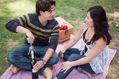 Attractive Hispanic Couple Having a Picnic in the Park Stock Image