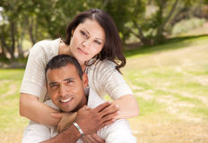 Attractive Hispanic Couple in the Park. Attractive Hispanic Couple Portrait in the Park Royalty Free Stock Photo