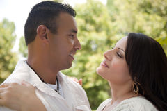 Attractive Hispanic Couple in the Park Stock Photography