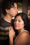 Attractive Hispanic Couple Portrait Outdoors. Young Hispanic Couple Portrait Enjoying Each Other Outdoors Royalty Free Stock Photos