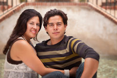 Attractive Hispanic Couple Portrait Outdoors. Attractive Hispanic Couple Portrait Enjoying Each Other Outdoors Royalty Free Stock Photos
