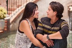 Attractive Hispanic Couple Portrait Outdoors Stock Photography