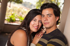 Attractive Hispanic Couple Portrait Outdoors. Attractive Hispanic Couple Portrait Enjoying Each Other Outdoors Royalty Free Stock Photo