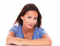 Attractive hispanic female looking at camera Royalty Free Stock Photography