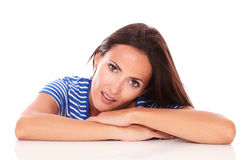 Attractive hispanic lady looking at camera Royalty Free Stock Images