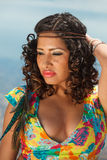 An attractive hispanic woman at the beach Royalty Free Stock Photo