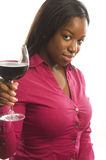 Attractive hispanic woman  glass  wine Stock Photo