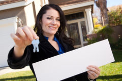 Attractive Hispanic Woman Holding Blank Sign royalty free stock image