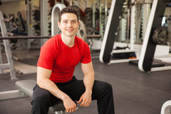 Attractive Hispanic young man at a gym Stock Image