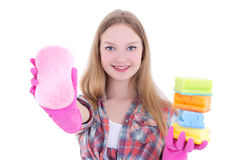 Attractive housewife in pink rubber gloves with colorful sponges Stock Image