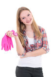 Attractive housewife in pink rubber gloves over white background Royalty Free Stock Images