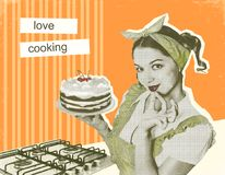 Attractive housewife with sweet cake in her hand.Retro poster on. Old paper background with text Stock Photography
