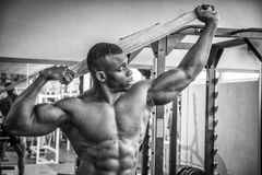 Attractive hunky black male bodybuilder in gym Royalty Free Stock Photos