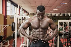 Attractive hunky black male bodybuilder in gym Royalty Free Stock Photography