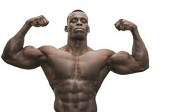 Attractive hunky black male bodybuilder posing Royalty Free Stock Image