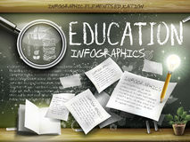 Attractive infographic element over blackboard background Stock Images