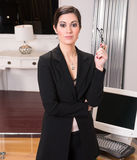 Attractive Intellectual Business Woman Greeting Customers Office Lobby royalty free stock images