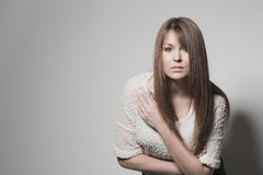 Attractive intense young woman Royalty Free Stock Images