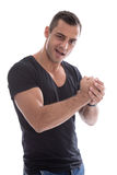 Attractive isolated man with muscles. Stock Photos