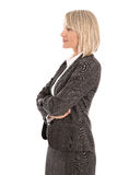 Attractive isolated mature female manager wearing costume and bl Royalty Free Stock Photo