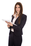 Attractive isolated smiling business woman with documents in her Stock Image