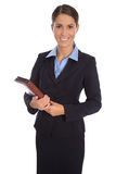 Attractive isolated smiling businesswoman in blue suit. Royalty Free Stock Photos