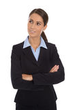 Attractive isolated smiling businesswoman in blue suit. Royalty Free Stock Images
