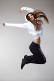 Attractive jumping woman Stock Photo
