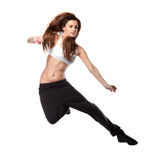 Attractive jumping woman on white Stock Photo