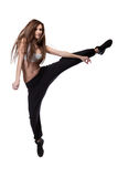 Attractive jumping woman on white Royalty Free Stock Image