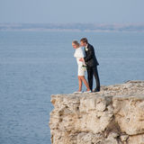 Attractive just married at the sea Royalty Free Stock Photo